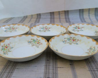 5 Vintage Meito China Dalton Hand Painted Floral Berry Bowls F & B Japan