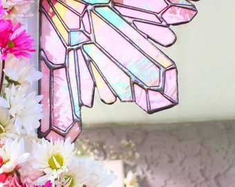 Rose Quartz crystal cluster stained glass home decor garden decor crystal healing