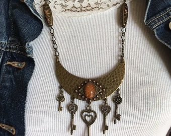 Antique Hammered Bronze Necklace with Keys, Whimsy Necklace, Key Pendant, Key Necklace, Hammered Jewelry, Hammered, Steampunk Jewelry