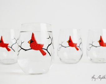 Christmas Glasses, Cardinal Stemless Wine Glasses - Set of 4 Red Bird Christmas Glasses, Cardinal Glasses, Christmas Glasses, Holiday Decor