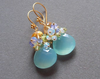 Aqua Chalcedony Ethiopian Opal Golden Citrine Gemstone Cluster Earrings Tanzanite Peridot Bridal Earrings