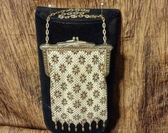 Vintage 1920's Mandalian enamel mesh purse, free shipping