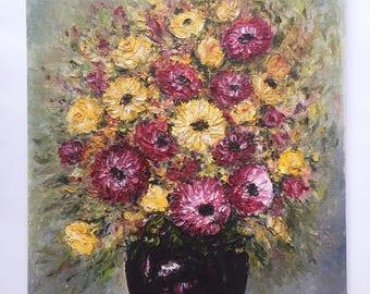 Vintage Mid Century Still Life Oil Painting Flowers in Mod Vase / Original Vintage Oil Painting Canvas Board / Unframed Oil Painting Floral