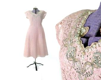 1940s Dress, 40s Dress, Large, Pink Vintage, Vintage Dress, Vintage Clothing, Vintage Dress, Lace, Beaded, Party, Cocktail, Womena Plus Size