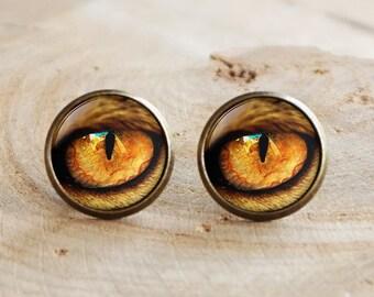 Yellow Cats Eye Stud Earrings,Eye earrings, Cat earrings,Gothic cat eye earrings,Eye Jewelry,dragon dinosaur eye earrings fantasy