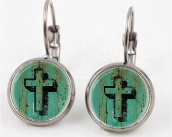 Cross Leverback Earrings