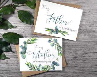 Set of 2, To My MOTHER Card, To My FATHER Card, Mother of the Bride Card, Father of the Bride Card, Mother Card, Greenery Wedding