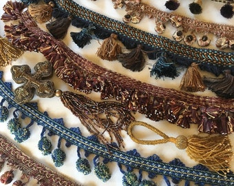 Vintage Woven Trims and Tassels Pom Poms Fringe Leather Glass Beads and Metalics