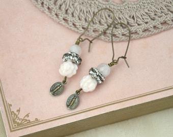 Ear Drops / Shabby Chic Earrings / Gemstone Earrings