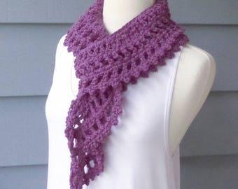 Knit Crochet, Long Scarf, Ruffle Scarf, Lightweight Scarf -- Custom Colors