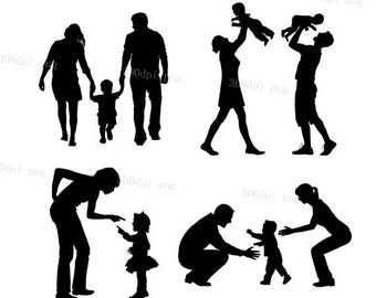 Family silhouette digital clipart vector eps png files Clip Art Images Instant Download