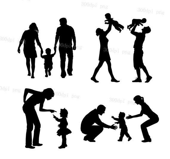 Family silhouette digital clipart vector eps png files Clip