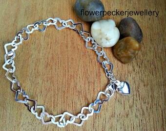 Heart Charm Bracelet, Valentine's Gift Ideas, Heart Charm Bracelet, Chunky Silver Bracelet, Gift for Her, Best friend Gift