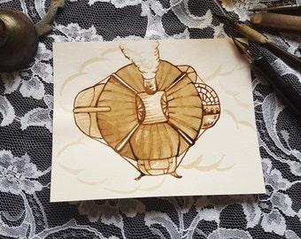 Airship No. 1 - Original Sepia Ink Art