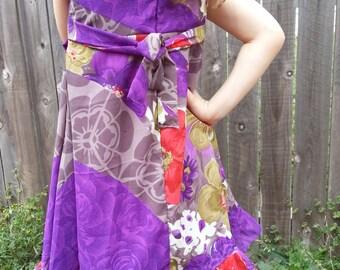 Mother Daughter Matching - Bright Purple Floral Toddler Little Girls Lined Sleeveless Sari Silk Dress - Jette 3065