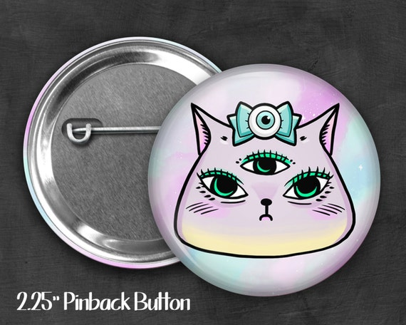 "2.25"" Kawaii Kitty Pinback Button, Geek Button, Geekery, Button, Kawaii Button, Badges, Flare, Pin, Kawaii, Fairy Kei, Pastel Goth"