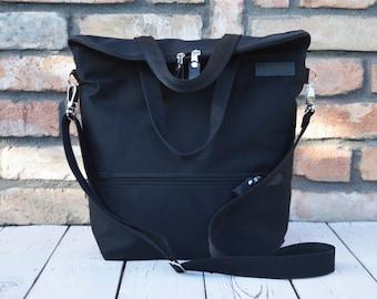 Solid Black Laptop Backpack, Unisex Zippered Crossbody Bag, Strong School Canvas Rucksack, Gift for Men, Birthday Present for Husband