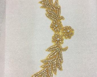 """Gold / crystal rhinestone appliqué 13"""" x 5"""""""