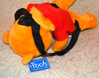 """POOH BACKPACK with Tag..16"""" head to toe..DISNEY..by: Accessory Network.  Zip opens in back of Pooh's Neck. Adjustable Black Straps. Mint !"""