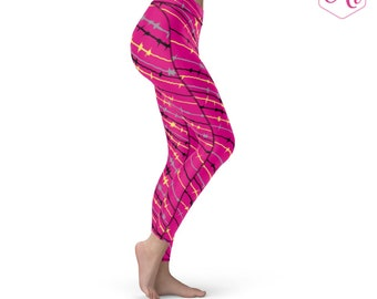Pink Black And Yellow Athletic Leggings, Pink Leggings, Athletic Apparel, Yoga Apparel