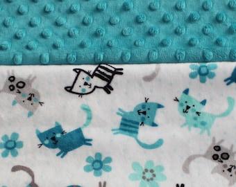 Minky Baby Blanket - Teal Baby Blanket - Kittens - Baby Gift - Baby Shower Gift - Stroller Blanket - Minky - Toddler Blanket - Teal kittens
