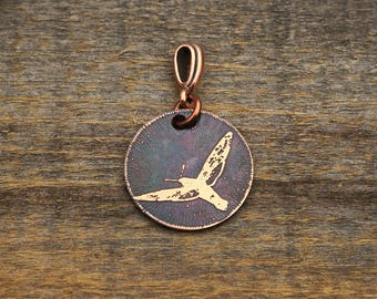 Small moth pendant, round etched copper jewelry, 22mm