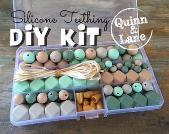 DIY Silicone Teething Kit - Silicone Beads & Supplies - Make Your Own Baby Chew Jewelry Teething Necklace - Mint/Oatmeal/Moon/Patina (SO)