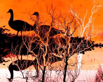 Geese Art, Digital Photomontage, Bird Mirror Imaging, Orange Black, Southwestern Silhouette, Woodland Animal, Home Wall Decor Giclee Print