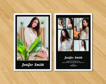 Modeling Comp Card Template   Model Comp Card   Photoshop Template   Instant Download