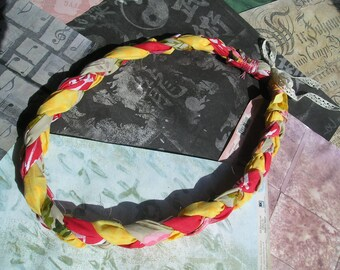 CLAURIE Handmade Braided Fabric Boho Chunky Statement Necklace Yellow Red Pink Green