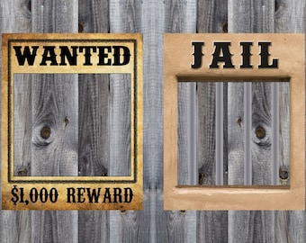 Wanted & Jail Poster Bundle - Western, Cowboy, Rodeo Birthday Party Theme - Photo Booth - Prop - Decoration - Downloadable - Printable 16x20