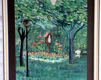 """11x13"""" Framed & Matted Watercolor Floral Garden Religious Virgin Mary Statue"""