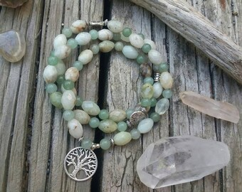 TREE OF LIFE Green Aventurine and Faceted Amazonite Healing Crystal Stretch Triple Wrap Around Mala Bead Bracelet