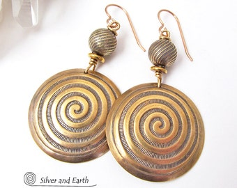 Spiral Earrings, Gold Brass Earrings, Ancient Symbol Jewelry, Big Gold Earrings, Spiral of Life Jewelry, Gifts for Her, Gold Tone Earrings