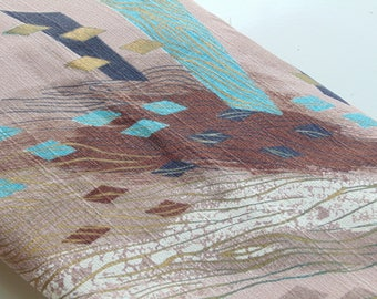 Mid Century Barkcloth unused yardage 6 uncut yards excellent abstract nuetral tone colors