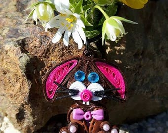 Rabbit made of polymer clay steampunk quilling necklace.
