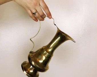 Brass Pitcher, Brass Vase, Vintage Vase, Vintage Pitcher, Decorative Pitcher, Small Pitcher, Watering Can, Vintage Brass