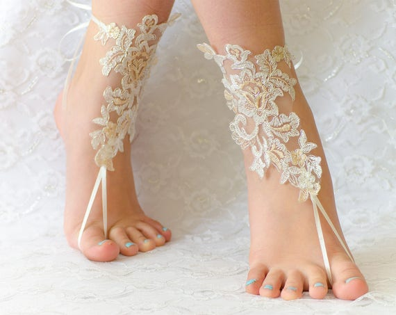 Barefoot sandals wedding, wedding shoes, wedding shoes lace, wedding shoes for bride, beach anklets 01
