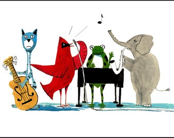 Animal Painting pig PRINT  art Music musical modern Funny horse rooster and sheep  8x10 Giclee