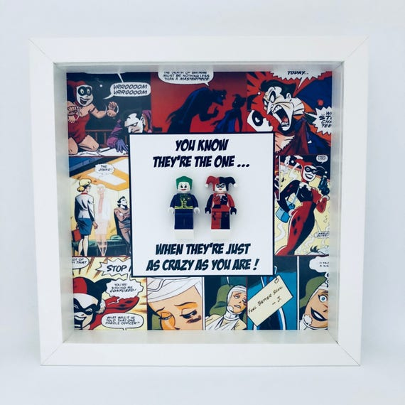 """Harley Quinn And Joker """"You Know They're The One...."""" Minifigure Frame"""