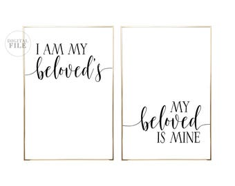 I AM MY Beloved's - Bedroom Decor by Dear Lily Mae - Printable Wall Art - (2) 24x36 JPEGs, You Print, Personal Use Only