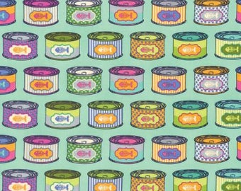 Tula Pink Fabric Tabby Road Cat Snacks in Blue bird, Choose your cut