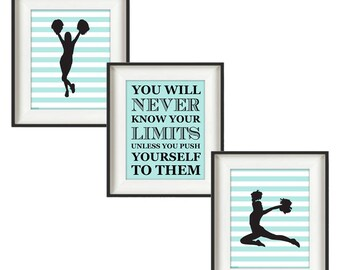 Cheerleading Gifts - Gifts for Cheerleaders - Cheer Gift Ideas - Cheer Team Gifts - Senior Cheer Gifts - Teal 8 x 10 Prints - Set of 3