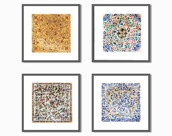 Wall Art set, living room decor, Chic wall art, Print set, Office Wall Decor, Gaudí, mosaic tiles, SAVE, Fine Art Collection