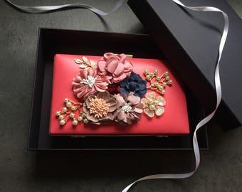 Carrie | Bridal clutch, pink clutch bag, wedding bag, bridesmaid bag, multiway clutch, floral handbag, statement hand bag, gift for her
