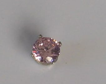 6mm  Pink CZ Single Vintage Sterling  Post Earring