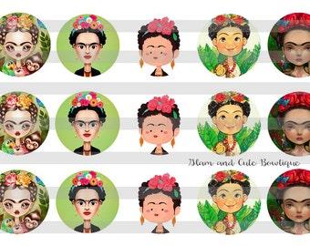 """Frida Kahlo INSTANT DOWNLOAD Bottle Cap Images 4x6 sheet 1"""" circles"""