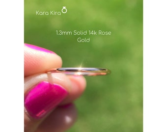 1.3mm Rose Gold Wedding Band, Plain Band, Stacking Ring, Midi Ring, Spacer Ring, Thin Band, Pink Gold, Mother's Day Gift