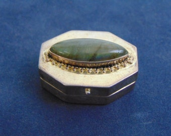 Vintage Collectible Sterling Silver Pill Box w/ Moonstone 18.5g E724