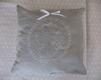 Free shipping! grey cameo cushion